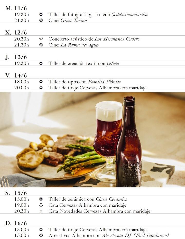 Jardin Cervezas Alhambra programación