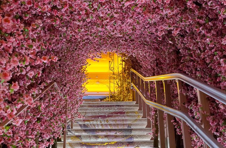 BLOOM Salvador Bachiller escaleras cubiertas de flores de cerezo y peldaños con mosaico de tacitas de té-2