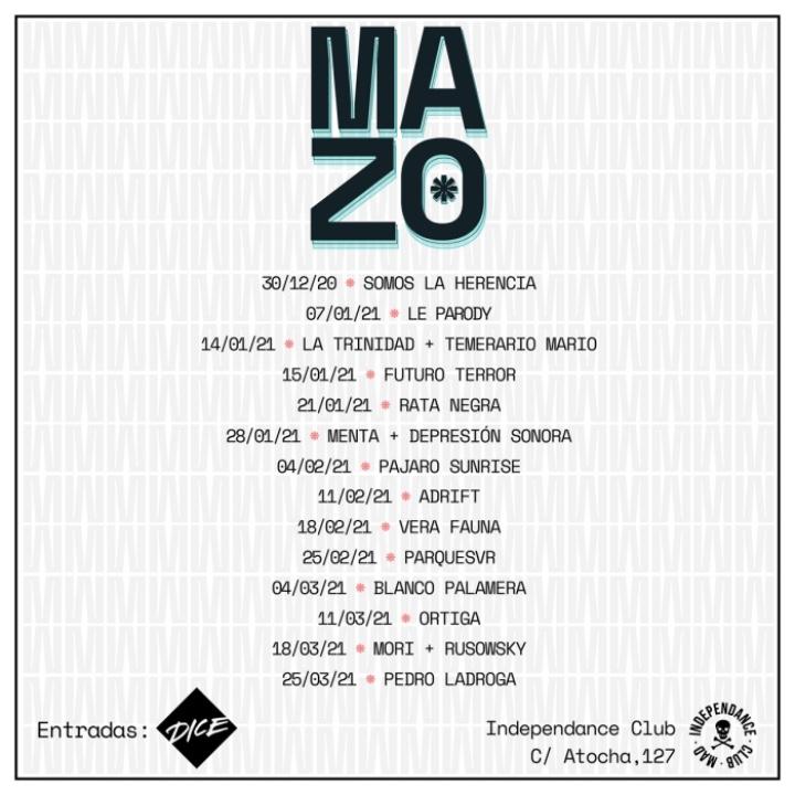 Cartel del ciclo de conciertos Mazo Madriz en la Sala Independance Club